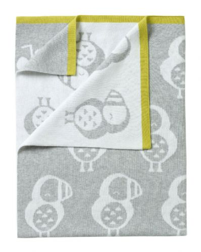 Grey Knitted Reversible Puffin Blanket